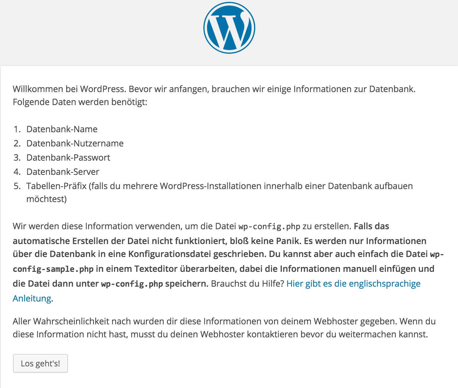 WordPress Informationen für die Installationen