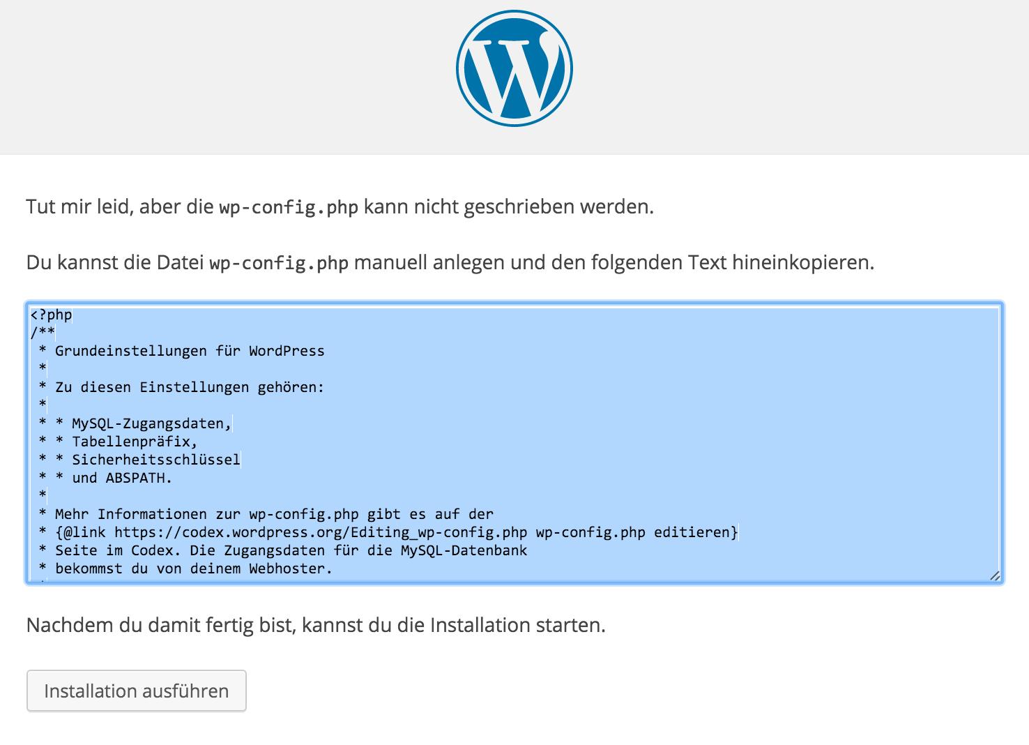 wp-config Datei richtig erstellen