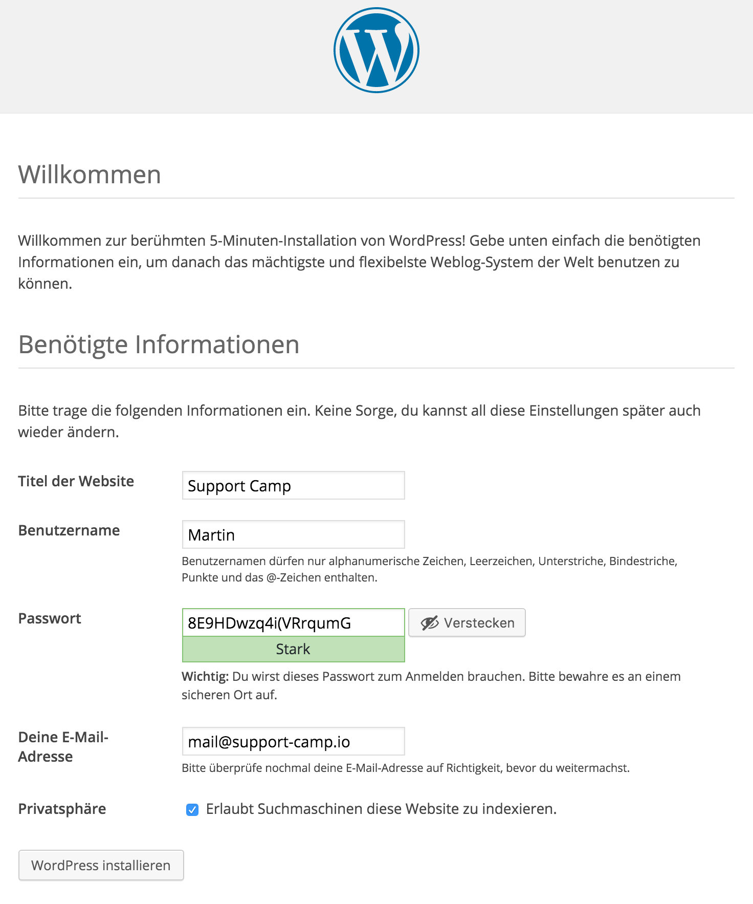 WordPress Installation benötigte Informationen