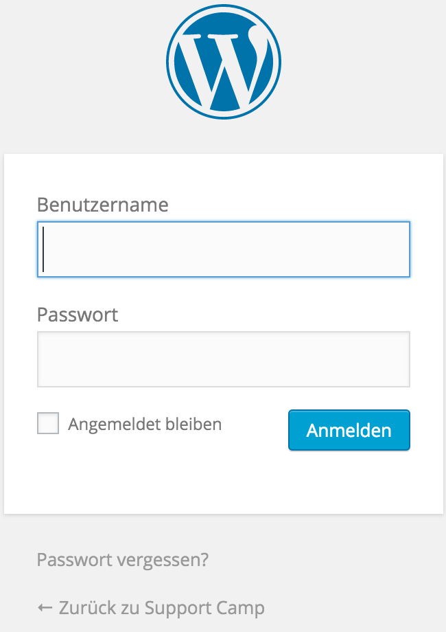 WordPress Login nach Installation
