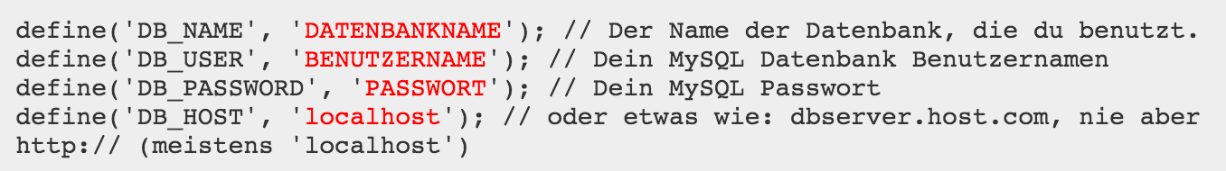 Überprüfen der wp-config.php Datei